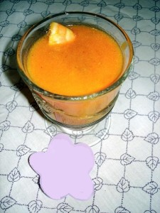Potage au potiron et aux crevettes