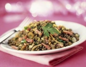 Salade de lentilles aux lardons