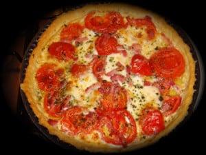 Quiche au poulet tomates et ciboulette