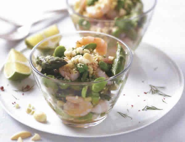 Recette Salade d'asperge crevettes et amandes avec Thermomix