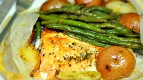 Papillote de saumon et petits légumes thermomix