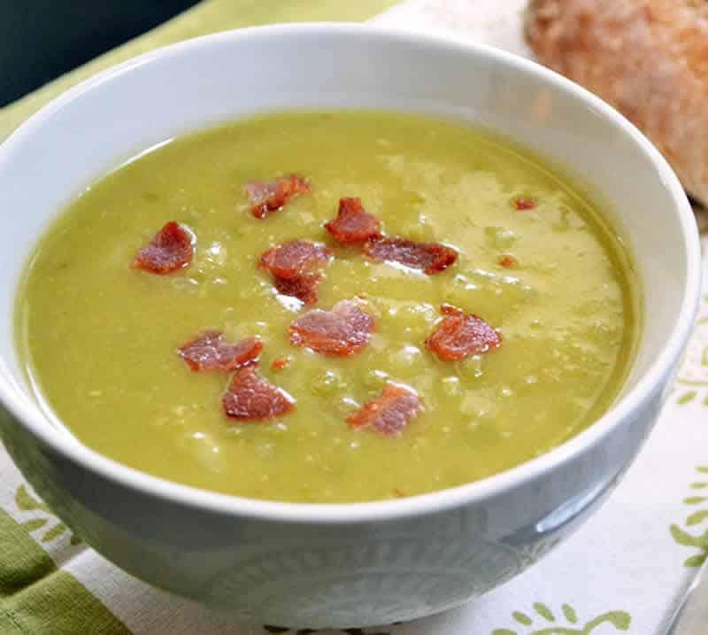 Soupe pois cass s aux lardons avec thermomix - Soupe de brocolis thermomix ...