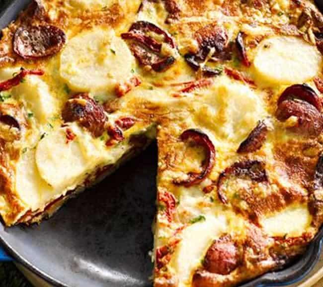 Tarte fine aux pommes de terre et chorizo avec thermomix