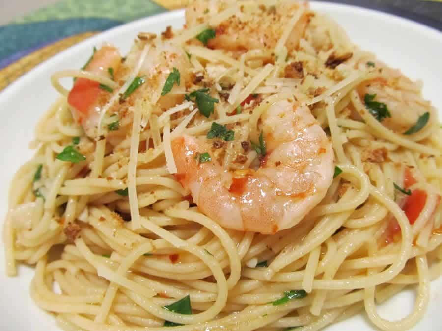 Spaghetti aux crevettes et à l'ail avec thermomix