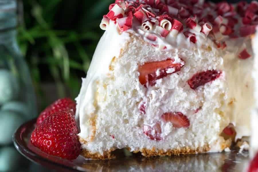 Angel cake aux fraises avec thermomix