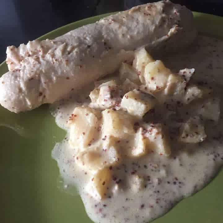 Boudins blancs à la crème de moutarde au Cookeo