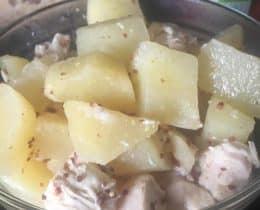 Poulet pommes de terre au sauce moutarde à l'ancienne avec Cookeo