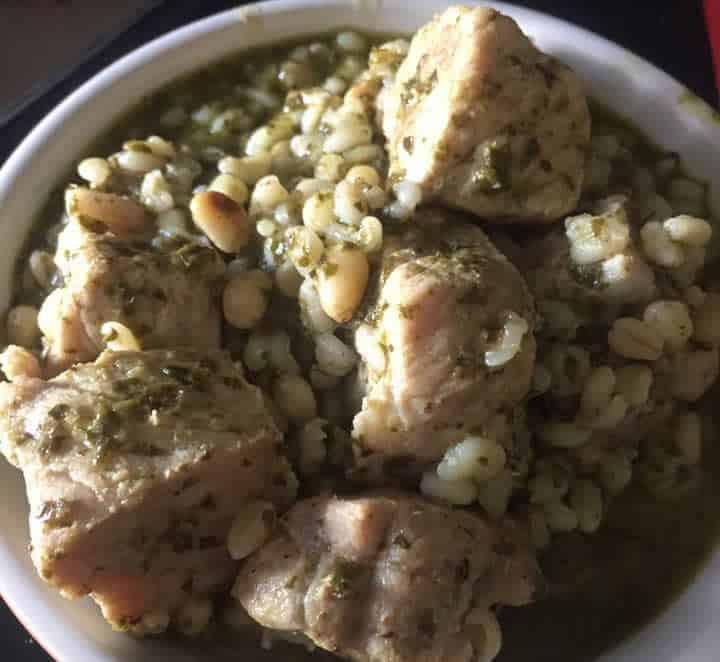 Sauté de porc ebly sauce Pesto au Cookeo