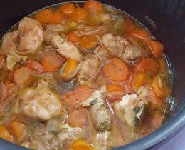 Sauté porc oignons carottes poireaux au cookeo