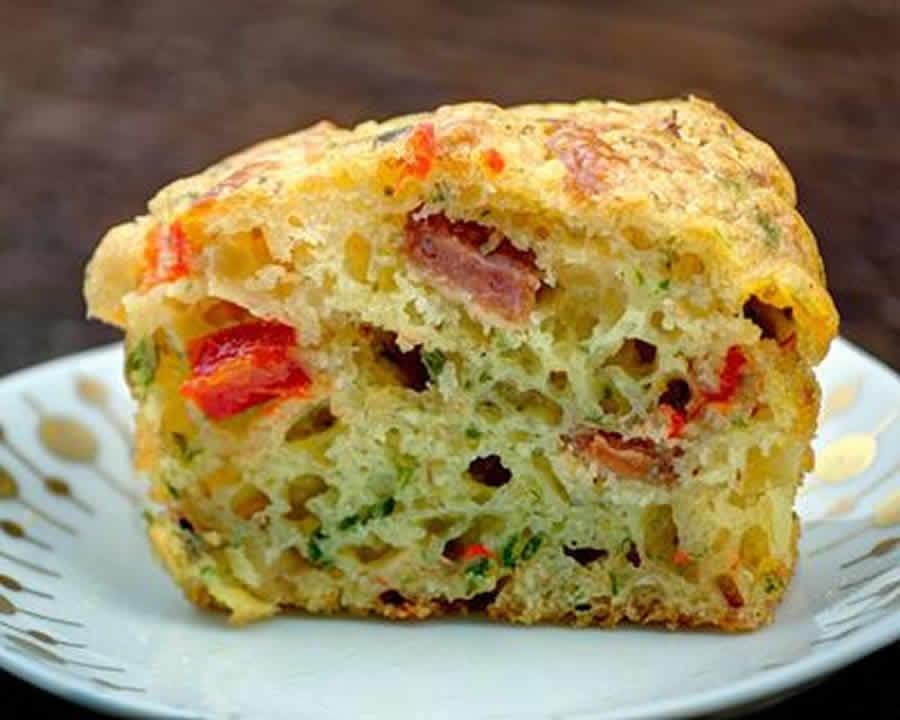 cake chorizo poivron et basilic au thermomix