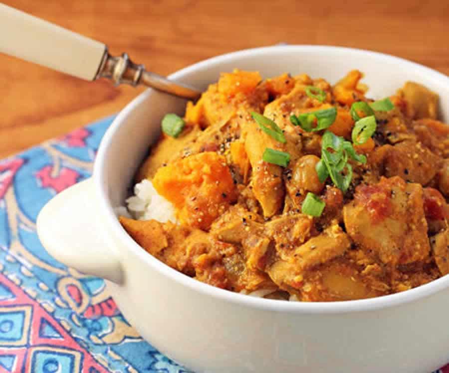 Curry de poulet aux patates douces au thermomix