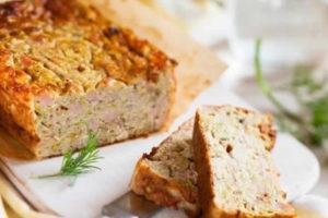 Cake aux miettes de saumon et champignons au thermomix