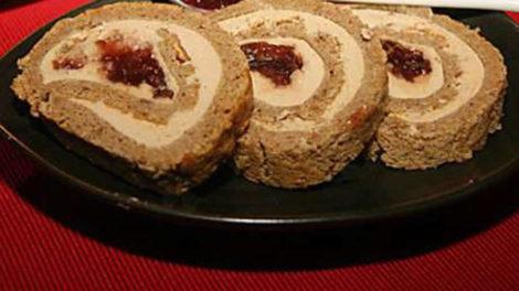 Pain d'épices roulé et foie gras au thermomix