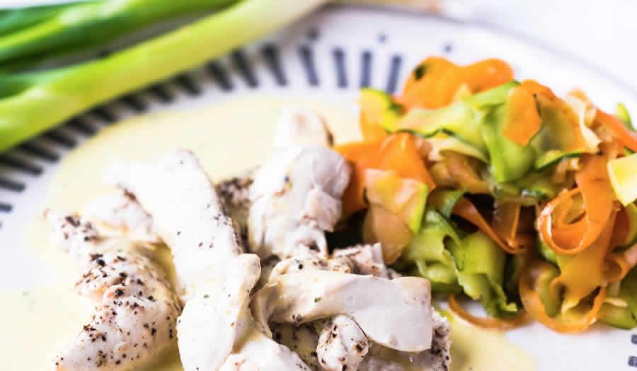 Blancs de poulet aux tagliatelles de carottes et courgettes au Thermomix