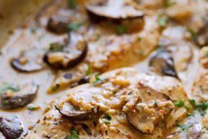 Escalopes de poulet au Boursin et champignons WW