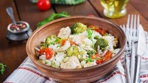 Risotto aux légumes et poulet WW