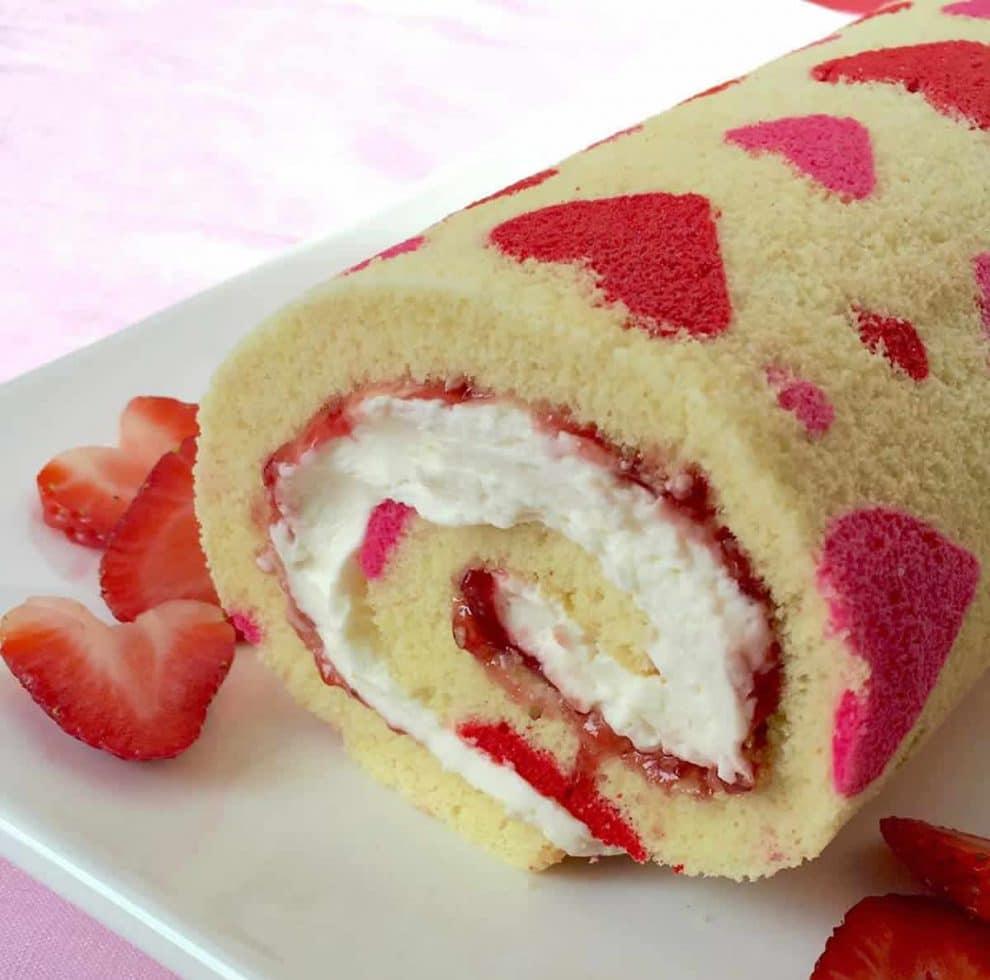 Gâteau roulé de la saint valentin au Thermomix
